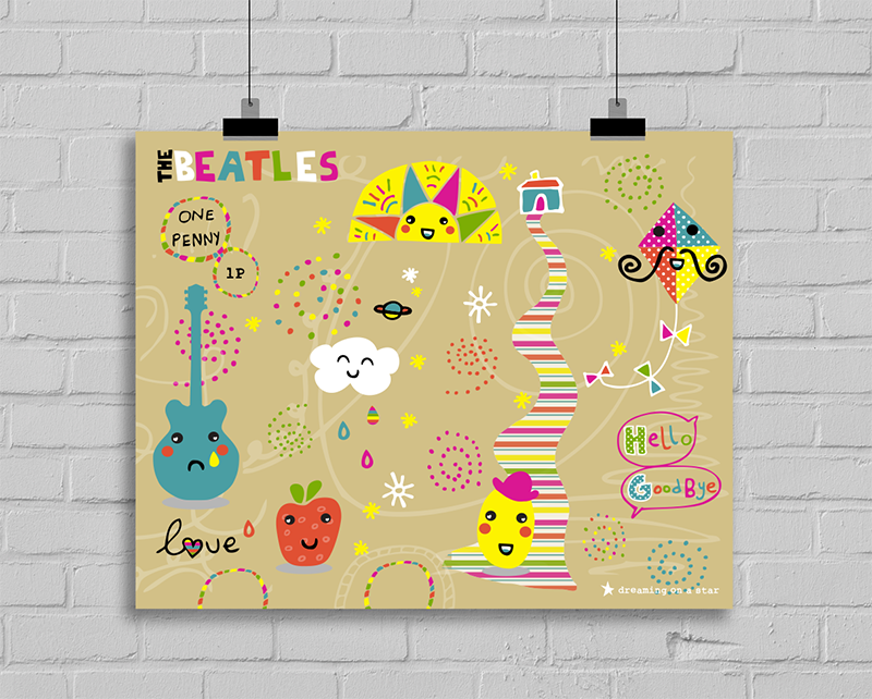 Beatles Kawaii Art Print by Dreaming on a Star