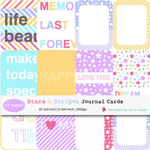 Stars & Stripes Digital Journal Cards by Dreaming on a Star