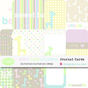 Sweet Baby Giraffes Journal Cards by Dreaming on a Star