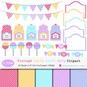 Vintage Candy Sweet Shop - Digital Clipart by Dreaming on a Star
