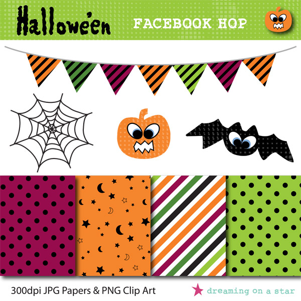 Hallowe'en Clip Art & Scrapbooking Paper Freebie by Dreaming on a Star