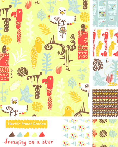 Dreaming on a Star - Electric Parrot Garden - Fabric Collection - MATS