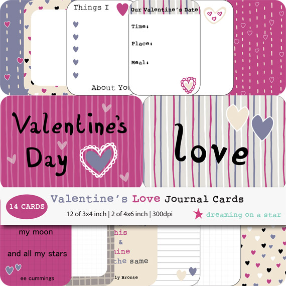 Valentine's Love Journal Cards by Dreaming on a Star