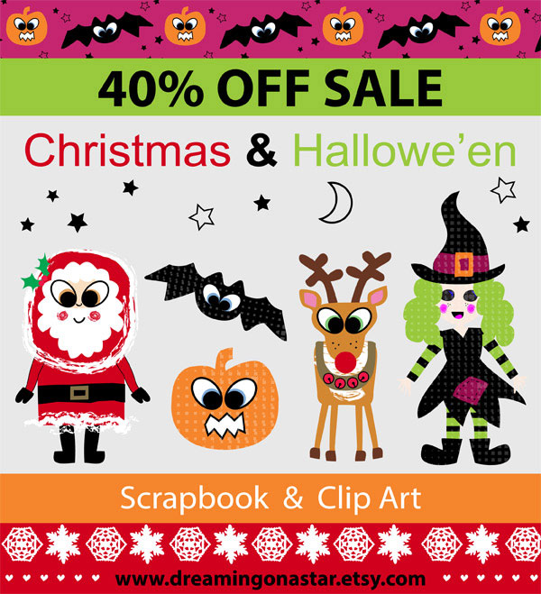 40% OFF SALE on Christmas & Hallowe'en Scrapbook & Clip Art by Dreaming on a Star