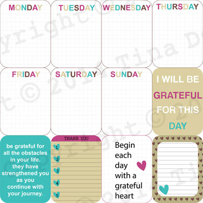 Gratitude Digital Journal Cards Project Life by Dreaming on a Star