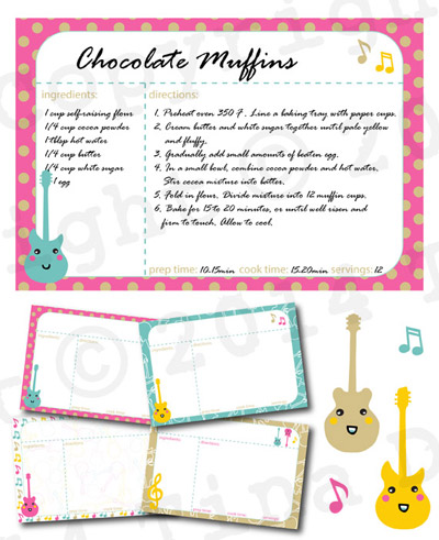 Jingly Jangly Guitars Digital Recipe Cards by Dreaming on a Star