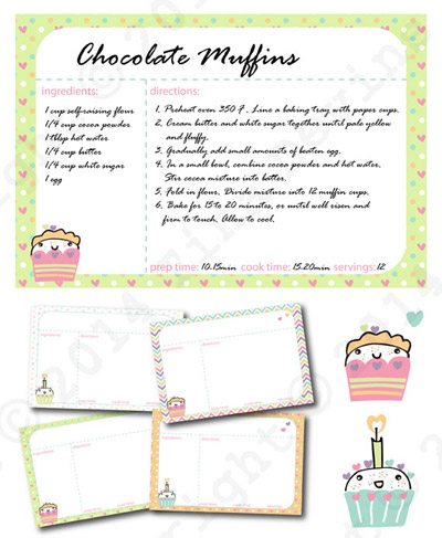 Kawaii Cupcakes Digital Recipe Cards by Dreaming on a Star