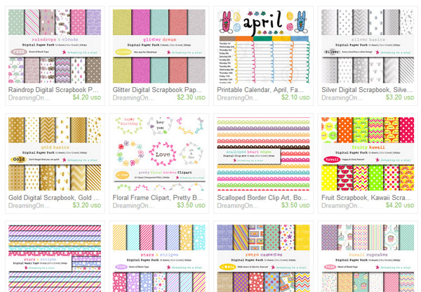 Etsy Scrapbook Papers & Clip Art by Dreaming on a Star