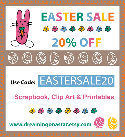 20% Off Easter Sale at Dreaming on a Star's Etsy Shop