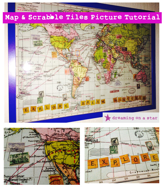 Map & Scrabble Tiles Picture Tutorial by Dreaming on a Star