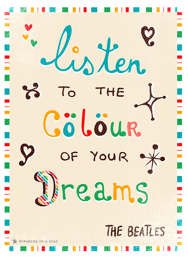Illustration by Dreaming on a Star. Words by The Beatles