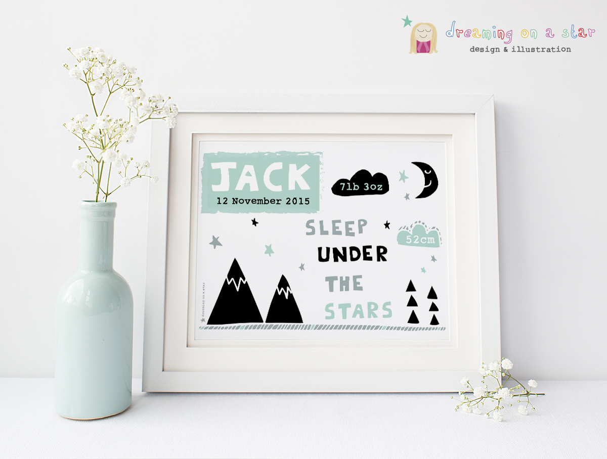 New Baby Personalised Lifestyle Picture by Dreaming on a Star