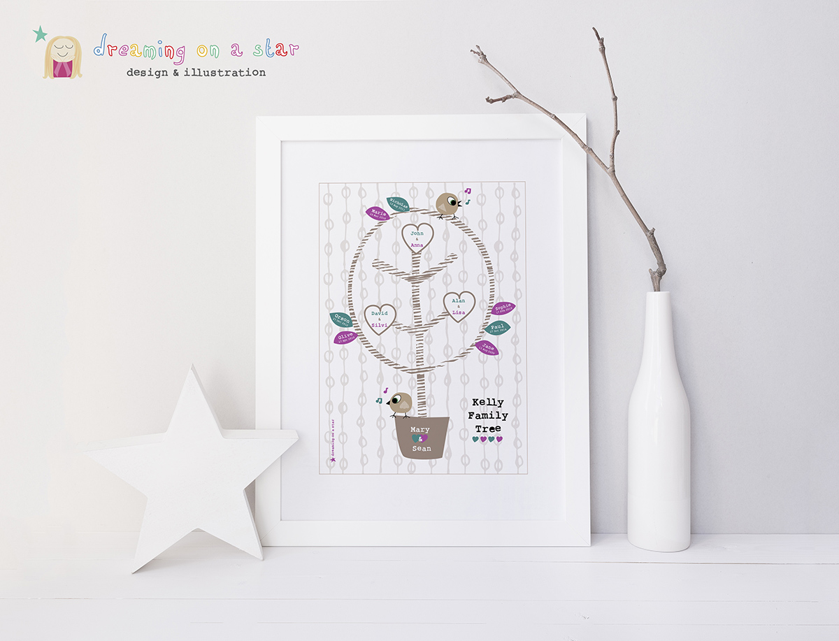Grandparent Family Tree Personalised Lifestyle Picture by Dreaming on a Star