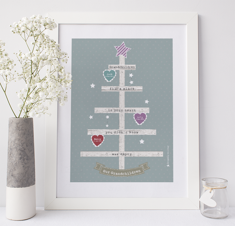 Grandchildren Tree by Dreaming on a Star - Grandchildrens' Names & Dates-of-Birth